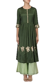Seaweed Green Embroidered Tunic With Palazzo Pants Set by Ranian