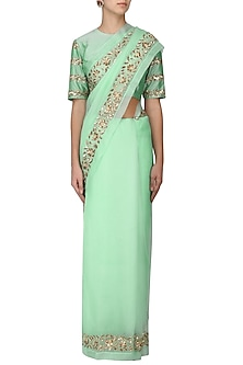 Mint Green Embroidered Saree with Blouse by Ranian