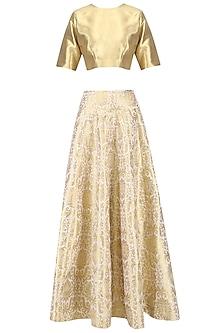 Gold Zari Brocade Lehenga Set by Ranian