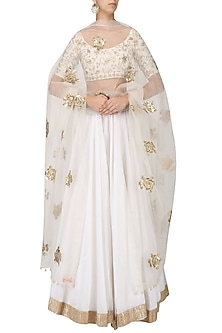 White Embroidered Lehenga Set by Ranian