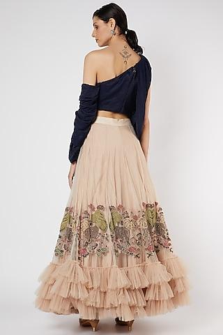 Blush Pink Ruffled Skirt Set by Neha & Tarun