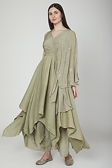 Olive Green Layered Draped Kurta Set by Neha & Tarun