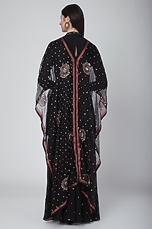 Black Embroidered Cape Kurta With Pants by Neha & Tarun