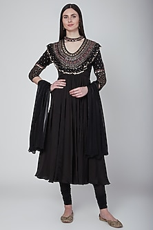 Black Zardosi Embroidered Anarkali Set by Neha & Tarun