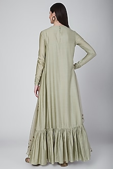 Olive Green Embroidered Layered Gown With Attached Dupatta by Neha & Tarun