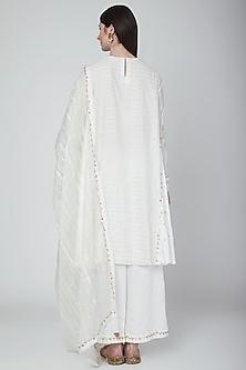 White Zari Hand Embroidered Kurta Set by Neha & Tarun