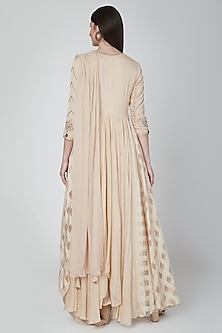 Beige Embroidered Gown With Pants & Dupatta by Neha & Tarun