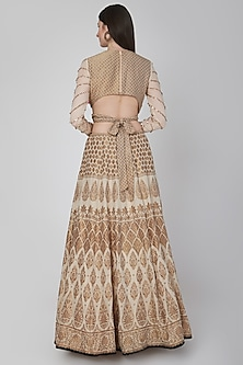 Beige Embroidered Blouse With Lehenga by Neha & Tarun
