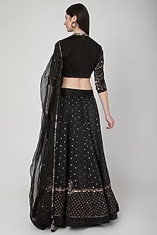 Black Aari Embroidered Lehenga Set by Neha & Tarun