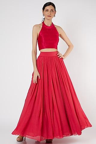 Fuchsia Crepe Skirt Set by Neha & Tarun