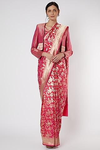 Fuchsia Banarasi Saree With Jacket by Neha & Tarun