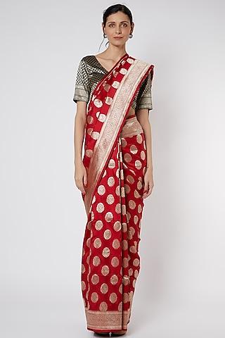 Red Banarasi Saree Set by Neha & Tarun