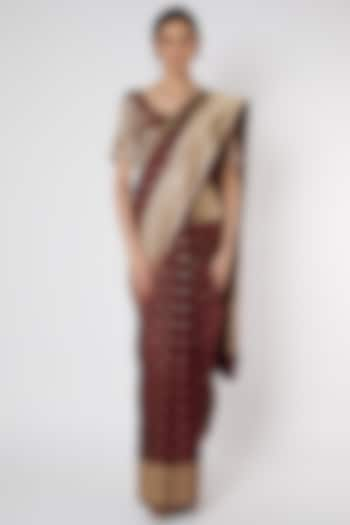 Wine Pure Katan Silk Bananrasi Saree Set by Neha & Tarun