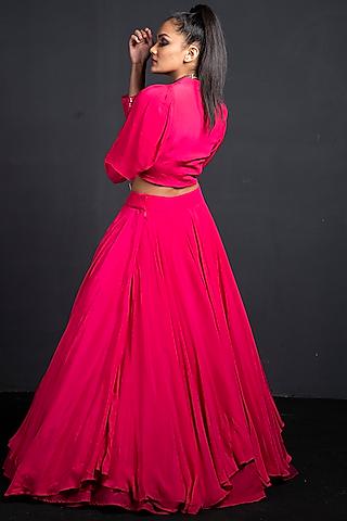 Fuchsia Embroidered Skirt Set by Neha & Tarun