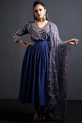 Indigo Blue Embroidered Anarkali Set by Neha & Tarun