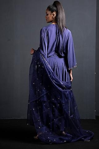 Sapphire Blue Embroidered Anarkali Set by Neha & Tarun