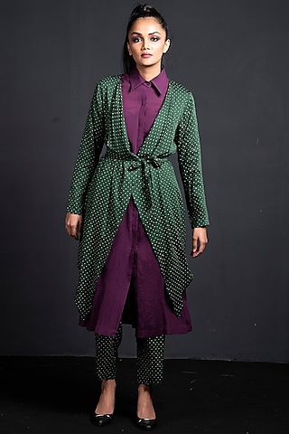 Emerald Green & Purple Printed Jacket Set by Neha & Tarun