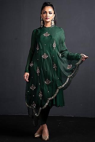 Emerald Green Embroidered Anarkali Set by Neha & Tarun