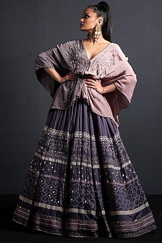 Lavender Embroidered Lehenga Set by Neha & Tarun