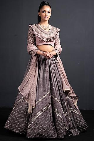 Grey & Blush Pink Embroidered Lehenga Set by Neha & Tarun