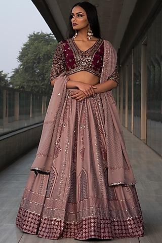 Pink & Wine Embroidered Lehenga Set by Neha & Tarun