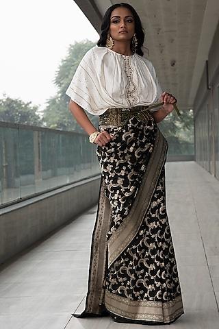 Black & White Zari Embroidered Saree Set by Neha & Tarun