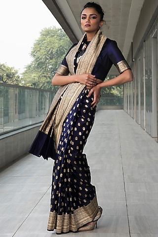 Navy Blue Embroidered Saree Set by Neha & Tarun