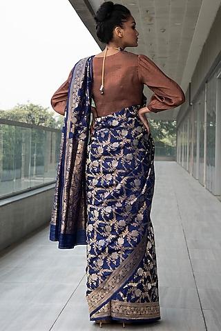 Cobalt Blue & Copper Embroidered Saree Set by Neha & Tarun