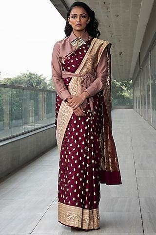 Maroon & Pink Embroidered Saree Set by Neha & Tarun
