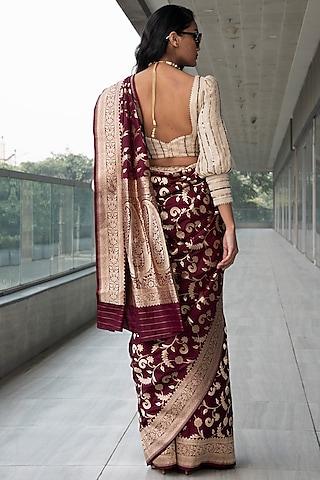 Maroon & Gold Embroidered Saree Set by Neha & Tarun