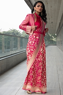 Fuchsia Embroidered Saree Set by Neha & Tarun
