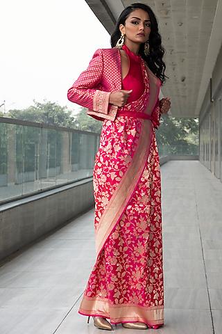Fuchsia Embroidered Saree Set by Neha & Tarun