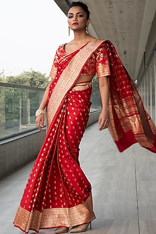 Red Zari Embroidered Saree Set by Neha & Tarun