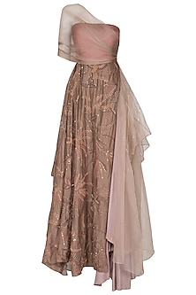 Brown Embroidered Layered Gown by Neha & Tarun