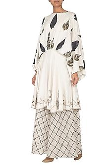White Printed & Embroidered Peplum Kurta With Flared Pants by Neha & Tarun