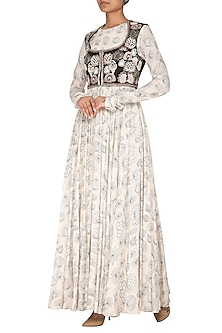 White Printed Gown With Embroidered Short Jacket by Neha & Tarun