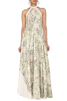 Grey Printed Halter Neck Gown With Belt by Neha & Tarun