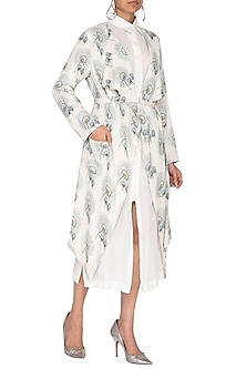 White Printed Trench Coat With Belt & Shirt Dress by Neha & Tarun
