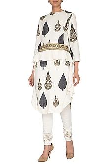 White Printed Kurta With Embroidered Churidar Pants by Neha & Tarun