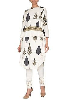 White Printed Kurta With Embroidered Churidar Pants by Neha & Tarun