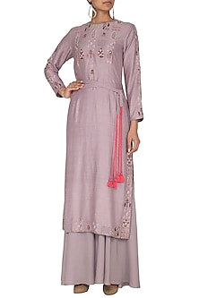 Mauve Embroidered Kurta With Flared Pants & Belt by Neha & Tarun