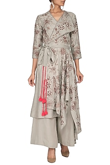 Grey Embroidered Achkan Kurta With Pants & Belt by Neha & Tarun