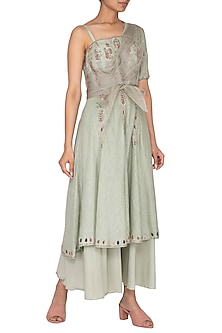 Grey Embroidered Peplum Drape Kurta With Pants & Belt by Neha & Tarun