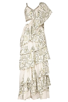 White Printed Gathered Stitched Saree Set by Neha & Tarun