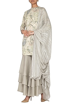Grey Printed Sharara Set by Neha & Tarun