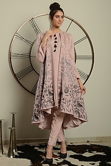Baby Pink Embroidered Jacket Set by Neha & Tarun