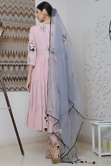 Baby Pink Embroidered Anarkali Set by Neha & Tarun