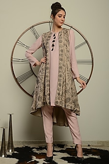 Beige Embroidered Jacket Set by Neha & Tarun