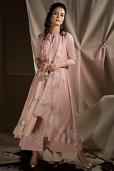 Blush Pink Layered Kurta With Pants by Neha & Tarun