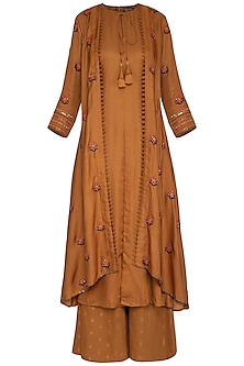 Rust Embroidered Kurta With Attached Jacket & Pants by Neha & Tarun